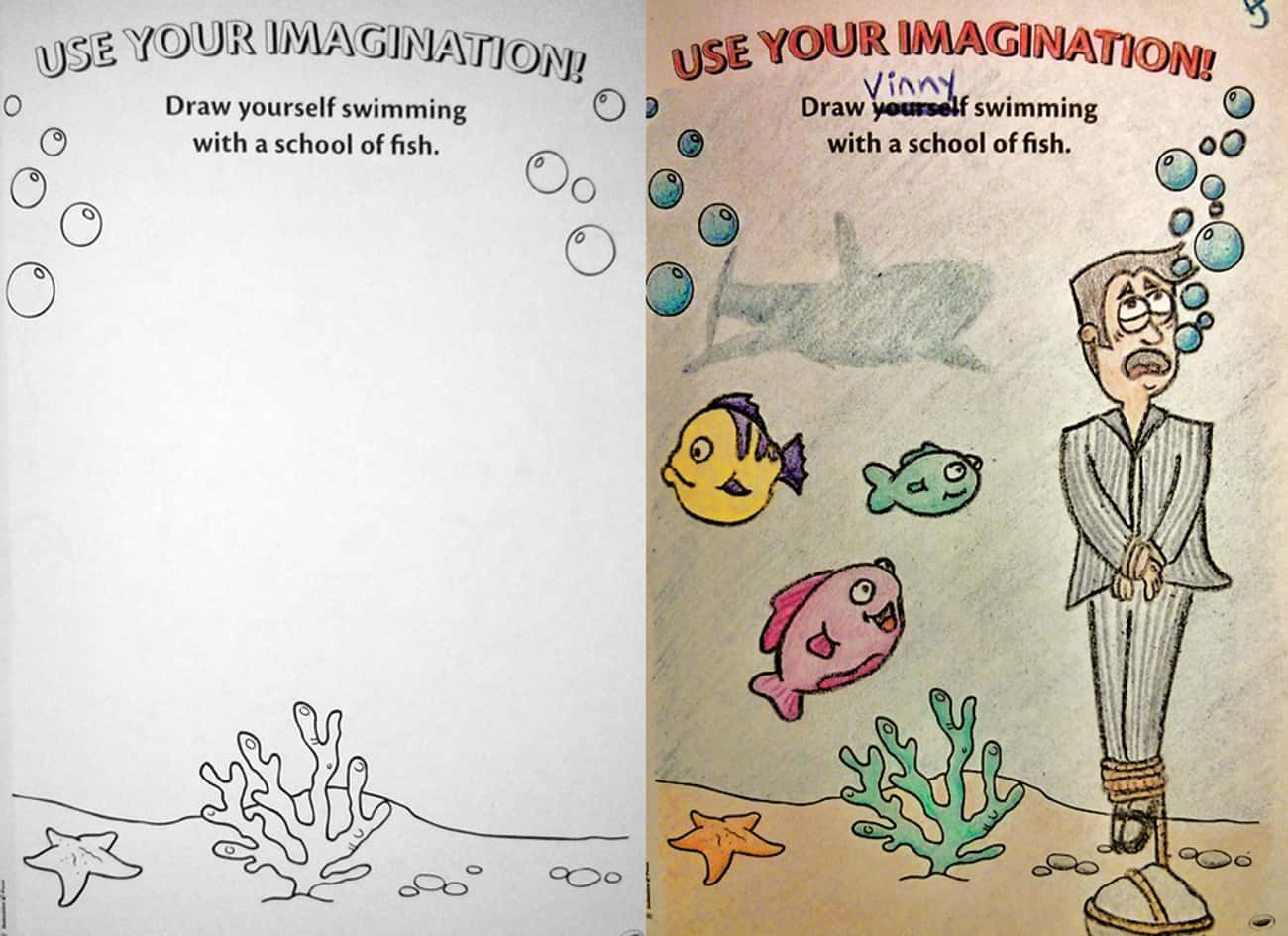 Vinny Sleeps With The Fishes is listed (or ranked) 4 on the list These Coloring Book Corruptions Will Taint Your Childhood
