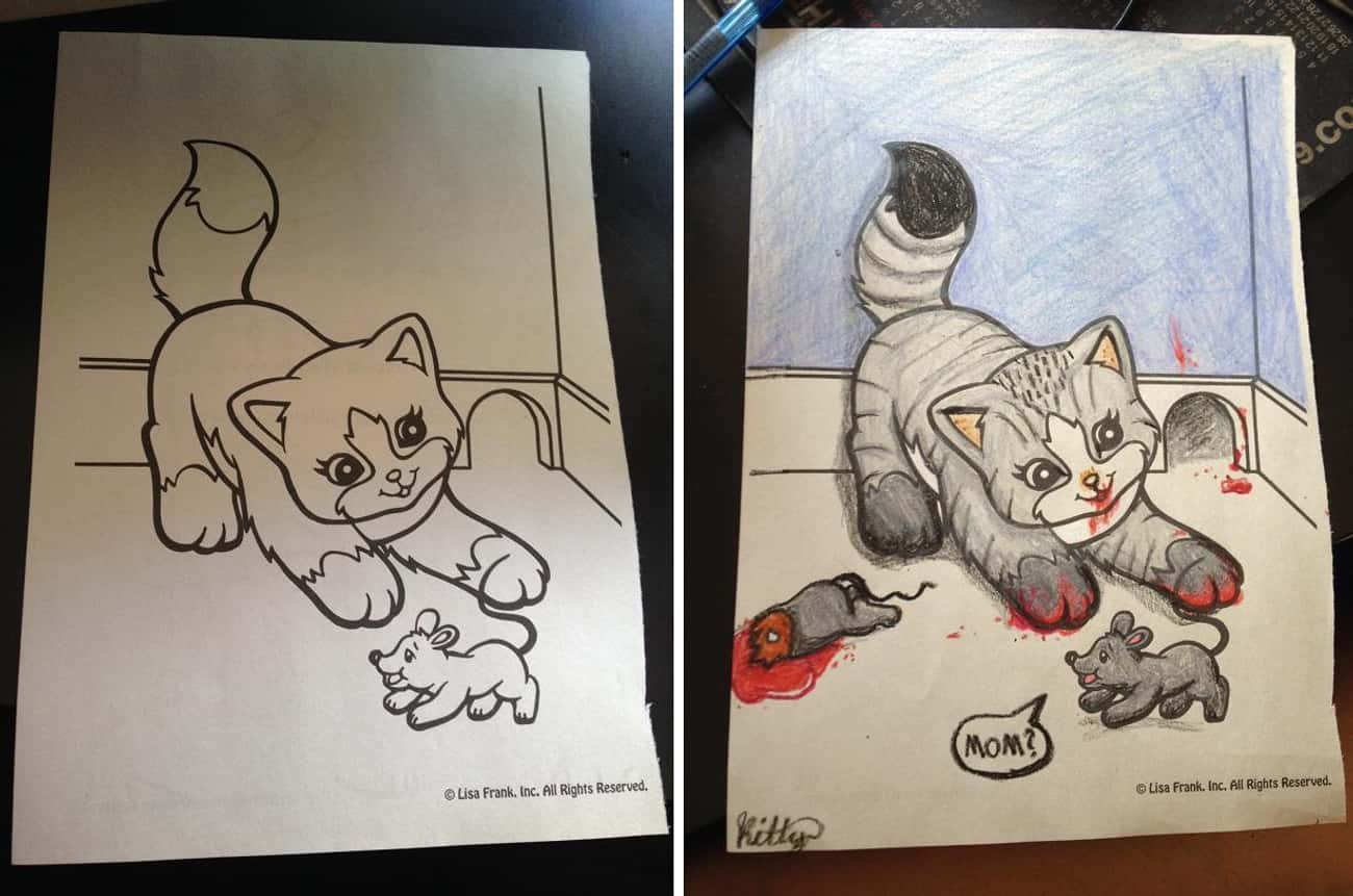 Cat And Mouse is listed (or ranked) 3 on the list These Coloring Book Corruptions Will Taint Your Childhood