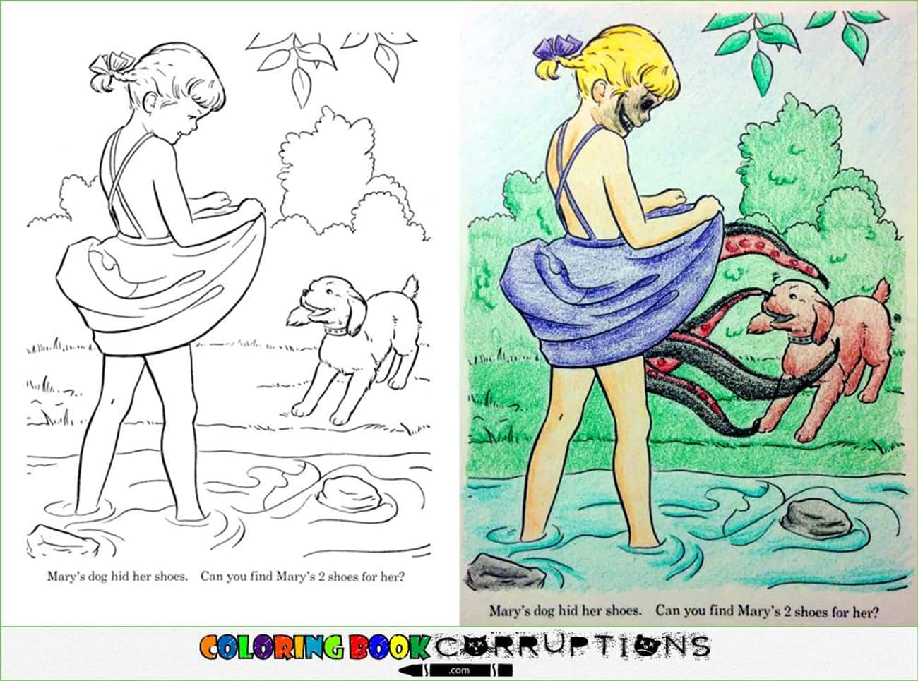Tentacle Coppertone Girl is listed (or ranked) 1 on the list These Coloring Book Corruptions Will Taint Your Childhood