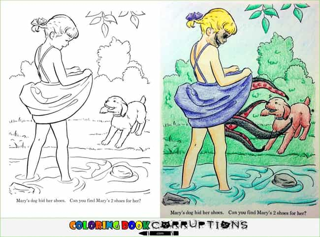 The Japanese Coppertone Girl is listed (or ranked) 1 on the list 54 Coloring Book Corruptions That Will Taint Your Childhood