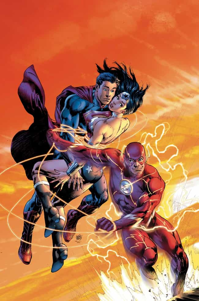 Superman/Wonder Woman #15 is listed (or ranked) 2 on the list 22 Amazing Flash 75th Anniversary Variant Covers