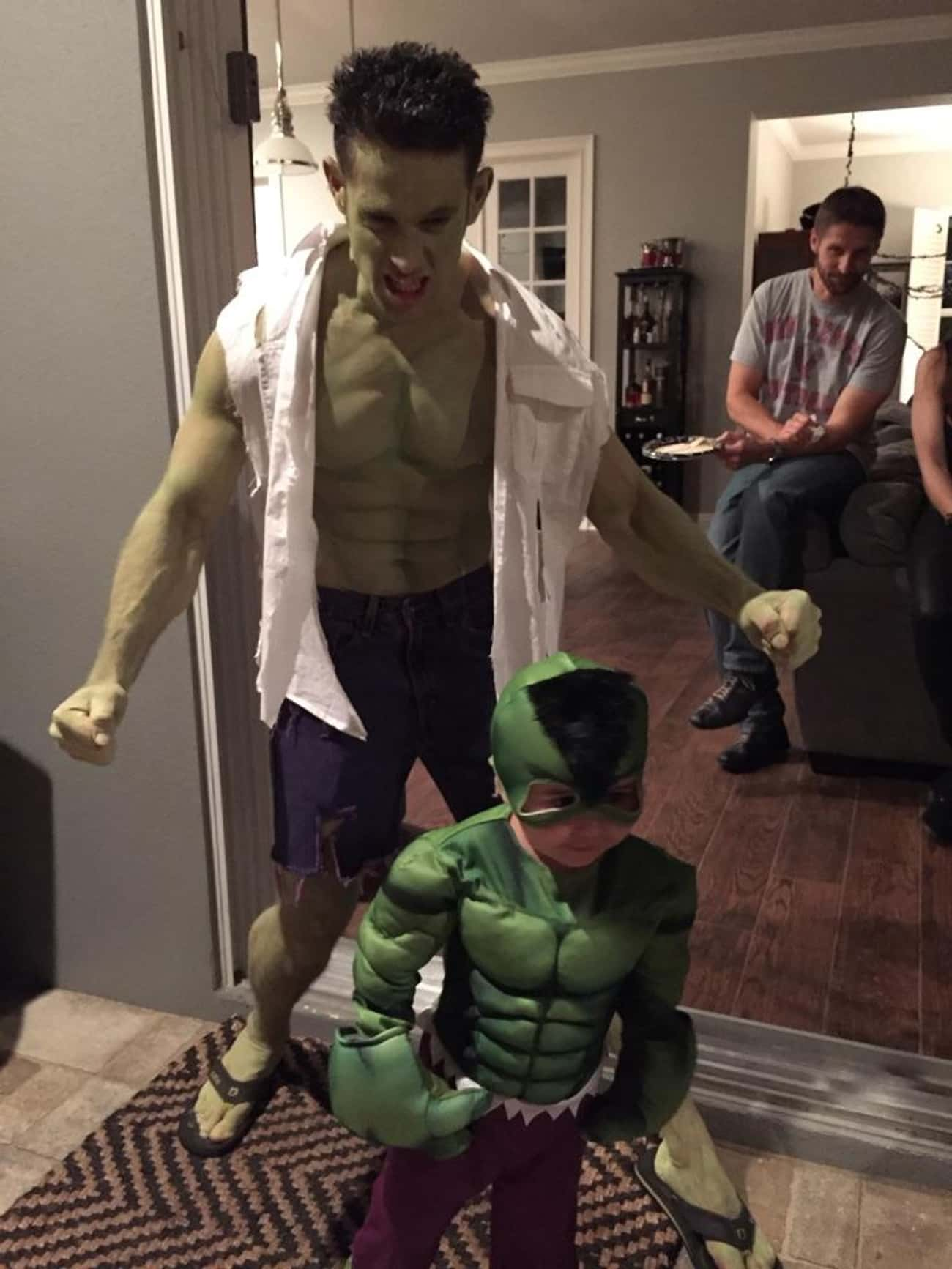 Hulk and Mini Hulkling is listed (or ranked) 4 on the list The 50+ Greatest Reddit Halloween Costumes of All Time