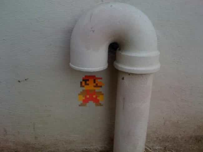 Mario in Real Life is listed (or ranked) 3 on the list 50+ Times Vandalism Made Other Things Better