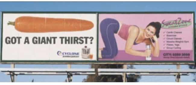 Giant Thirst? is listed (or ranked) 3 on the list 29 Cases of Truly Unfortunate Ad Placement
