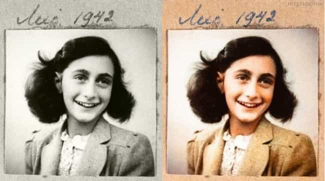 Anne Frank is listed (or ranked) 4 on the list 20 Incredible Colorized Photos from History