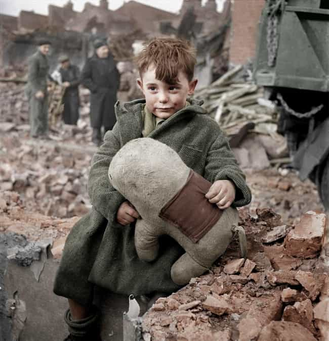Abandoned Boy in 1945 Lo... is listed (or ranked) 7 on the list 50+ Incredible Colorized Photos from History