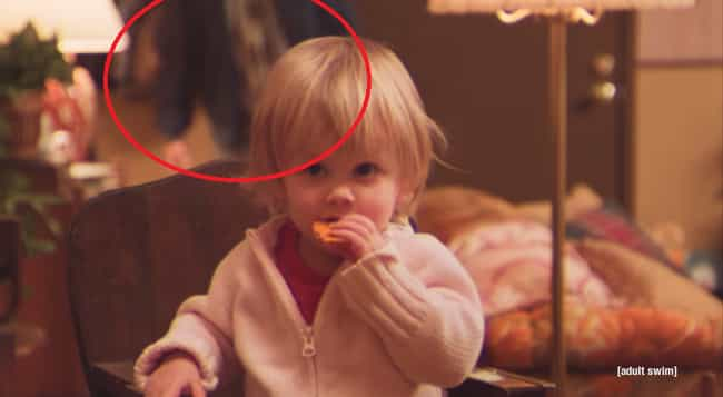 1:14 Behind the Toddler is listed (or ranked) 3 on the list 10 Times You Didn't Notice the Killer in 'Too Many Cooks'