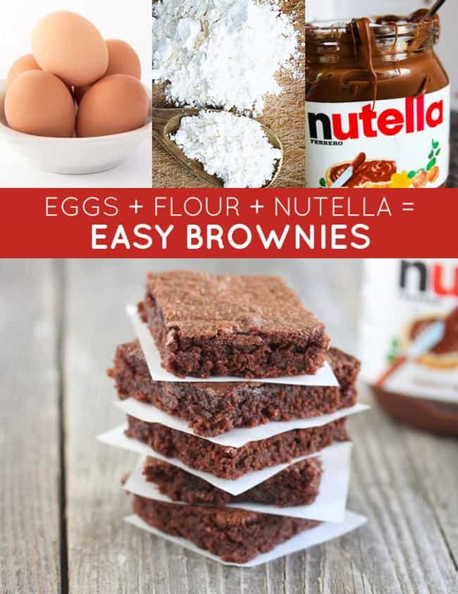 Nutella Brownies is listed (or ranked) 3 on the list 33 Easy and Delicious Three-Ingredient Recipes