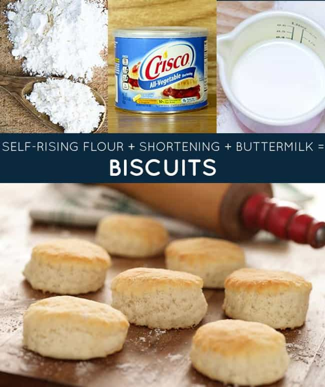 Homemade Southern Biscui... is listed (or ranked) 1 on the list 33 Easy and Delicious Three-Ingredient Recipes
