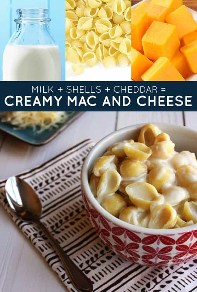Creamy Mac and Cheese is listed (or ranked) 3 on the list 33 Easy and Delicious Three-Ingredient Recipes