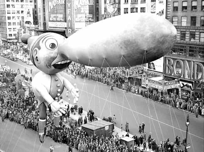 A Bulbous-Nosed Pinocchio is listed (or ranked) 1 on the list The Creepiest Macy's Thanksgiving Day Parade Balloons