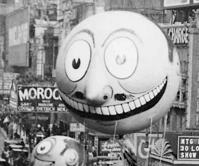 Disembodied Smirking Head is listed (or ranked) 3 on the list The Creepiest Macy's Thanksgiving Day Parade Balloons