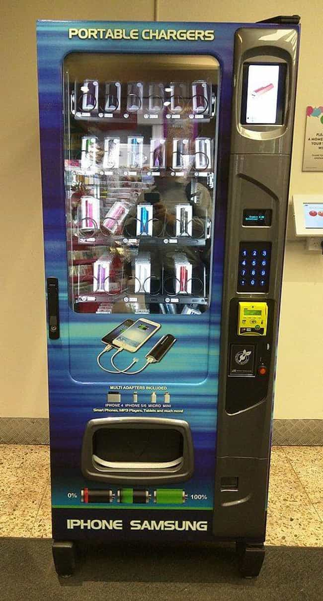Phone Charger Vending Ma... is listed (or ranked) 4 on the list Insane Vending Machines You Didn't Know You Needed