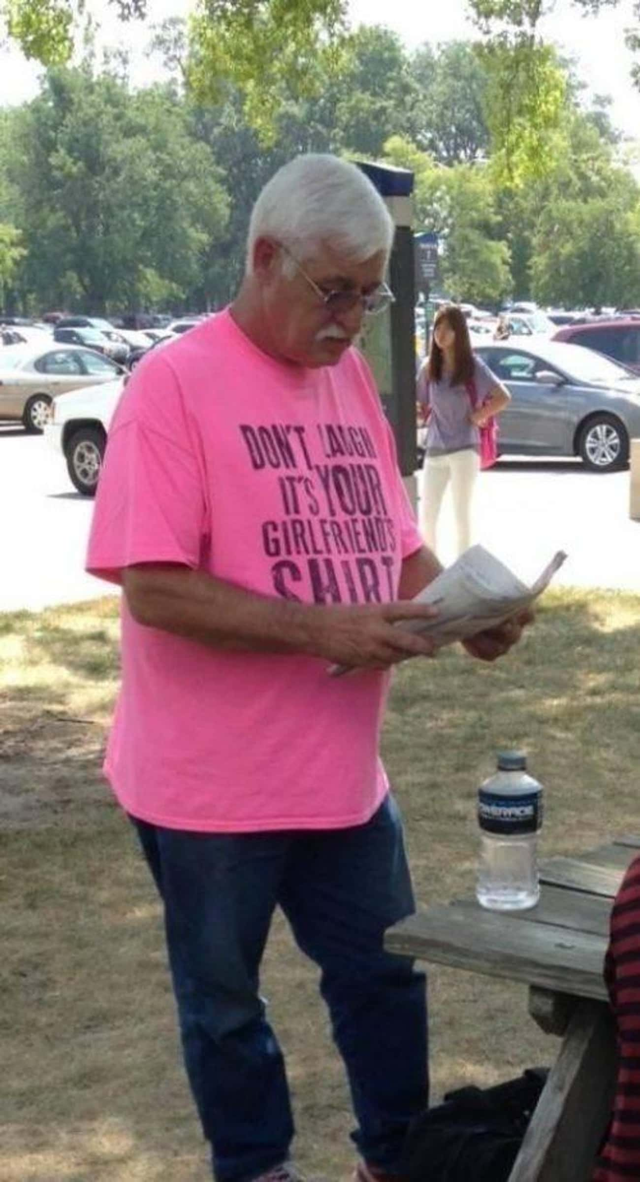 This Guy Who's Enjoying A Stro is listed (or ranked) 2 on the list 15 Amazing Old People Wearing Funny T-Shirts