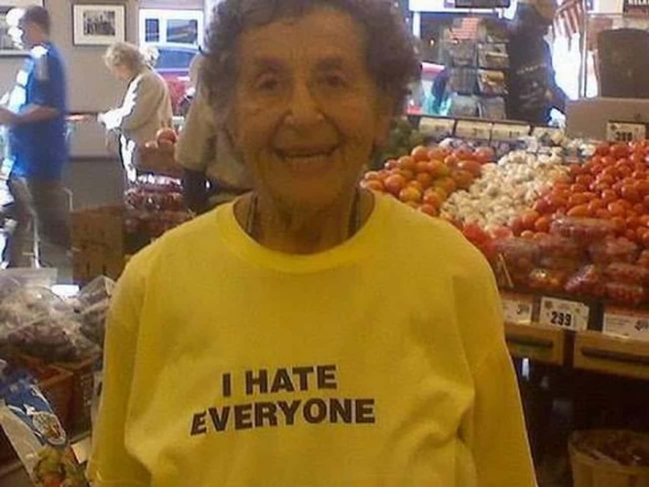 This Grandma Who's Smiling is listed (or ranked) 3 on the list 15 Amazing Old People Wearing Funny T-Shirts
