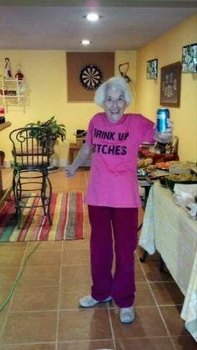 This Sweet Grandma Who's R... is listed (or ranked) 4 on the list 39 Amazing Old People Wearing Funny T-Shirts