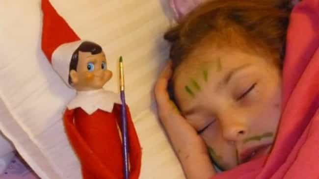 Her Fault for Passing Ou... is listed (or ranked) 3 on the list 20 Funny Photos of Elf on the Shelf Gone Bad
