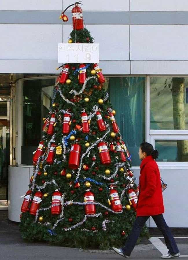 Perfect for those out-of-control chestnut roasting fires! - 35 Creative Christmas Tree Ideas For The Non-Conformist WPRO-FM