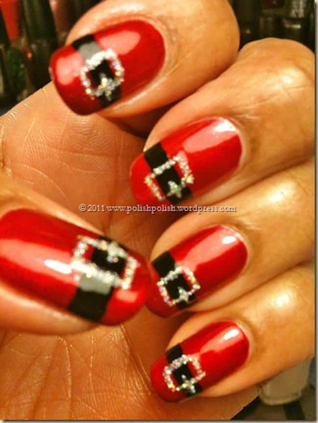 Santa's Suits is listed (or ranked) 4 on the list 34 Festive Nail Art Designs to Get You in the Holiday Spirit