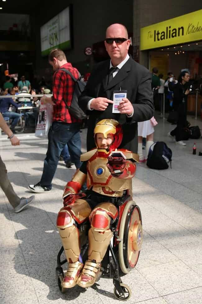 Dad Joins In On Iron Man Cospl... is listed (or ranked) 1 on the list The 35 Best Nerd Fathers on the Internet
