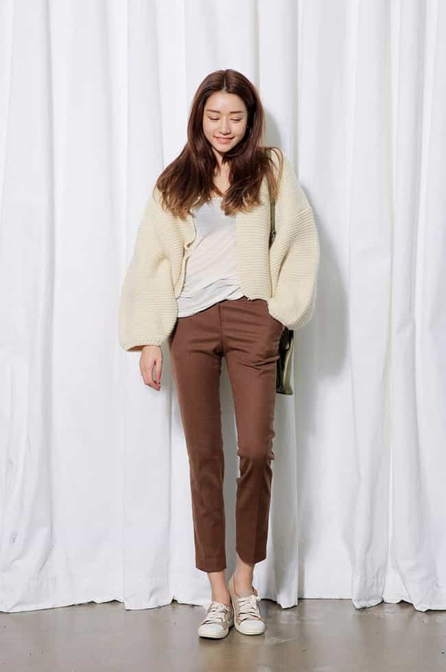 Balloon Sleeved Knit Cardigan is listed (or ranked) 3 on the list The Top South Korea Women's Fashions for Spring 2015