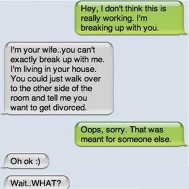 The Accidental Adultery ... is listed (or ranked) 1 on the list 17 Breakup Texts That Are So Awful They're Amazing