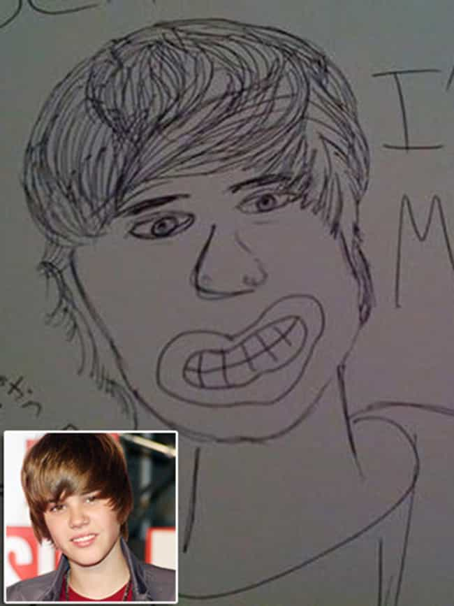 Justin Bieber Looking Li... is listed (or ranked) 5 on the list The Most Awful Pieces of Fan Art Ever Made