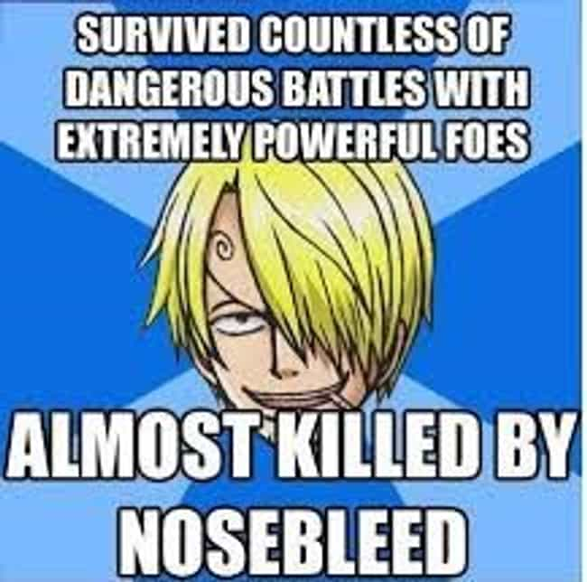 Death by Nosebleed is listed (or ranked) 2 on the list The Best One Piece Anime Memes