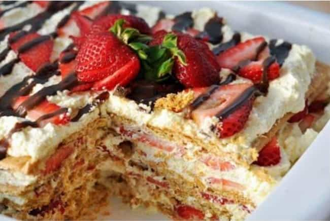 No-Bake Strawberry Ice Box Cak... is listed (or ranked) 4 on the list The 30 Best Strawberry Cake Recipes on the Internet