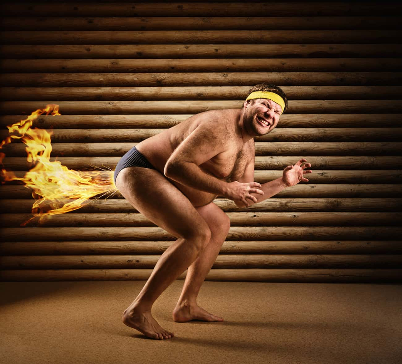 Man Burns Calories By Farting  is listed (or ranked) 4 on the list The Most Offensively Over-the-Top Stock Images of Fat People