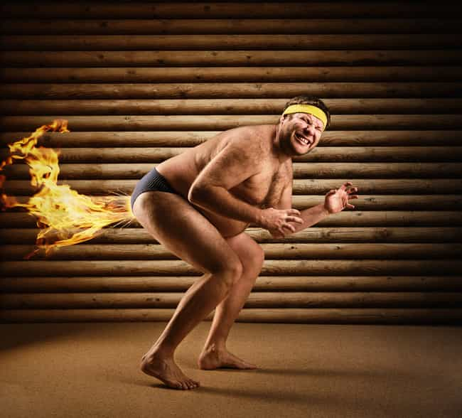 Man Burns Calories By Fa... is listed (or ranked) 2 on the list The Most Offensively Over-the-Top Stock Images of Fat People
