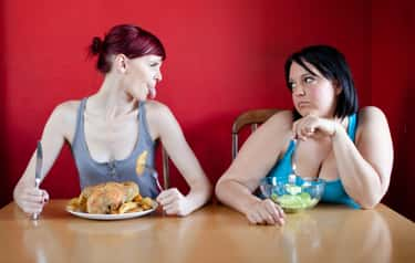 Woman Considers Offing Friend  is listed (or ranked) 6 on the list The Most Offensively Over-the-Top Stock Images of Fat People