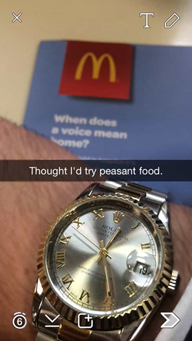 The Dollar Menu Is Wasted On T... is listed (or ranked) 3 on the list The Most Annoying Photos Of Rich Kids On Snapchat