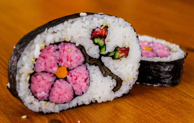 Springtime Cherry Blossom Sush... is listed (or ranked) 3 on the list The Most Awesome Sushi Art That You'll See All Day