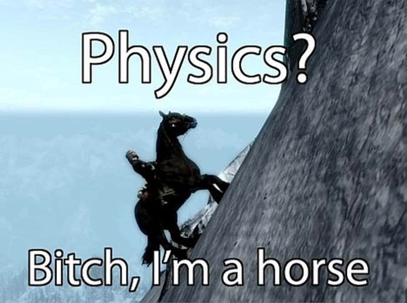 Game physics. Gotta love it. is listed (or ranked) 2 on the list The Best Skyrim Memes on the Internet