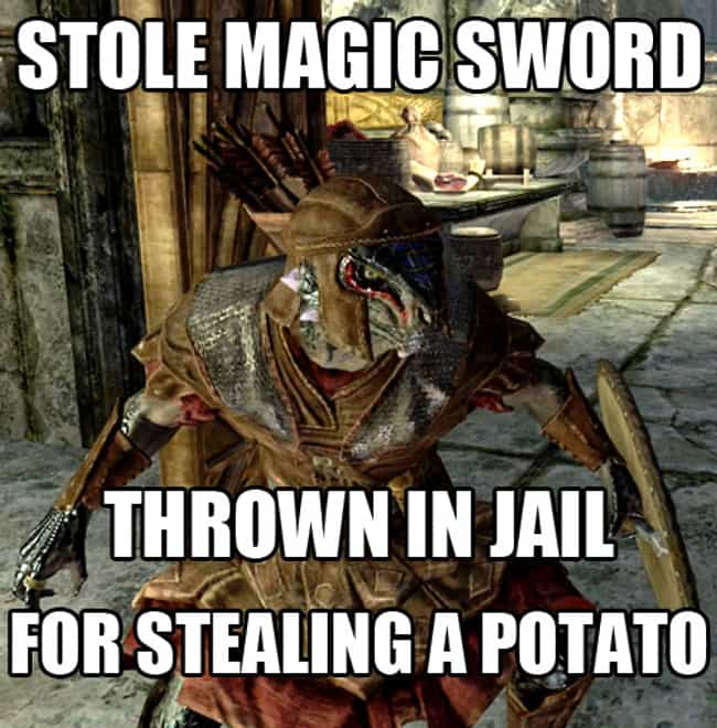 Strange property laws is listed (or ranked) 4 on the list The Best Skyrim Memes on the Internet