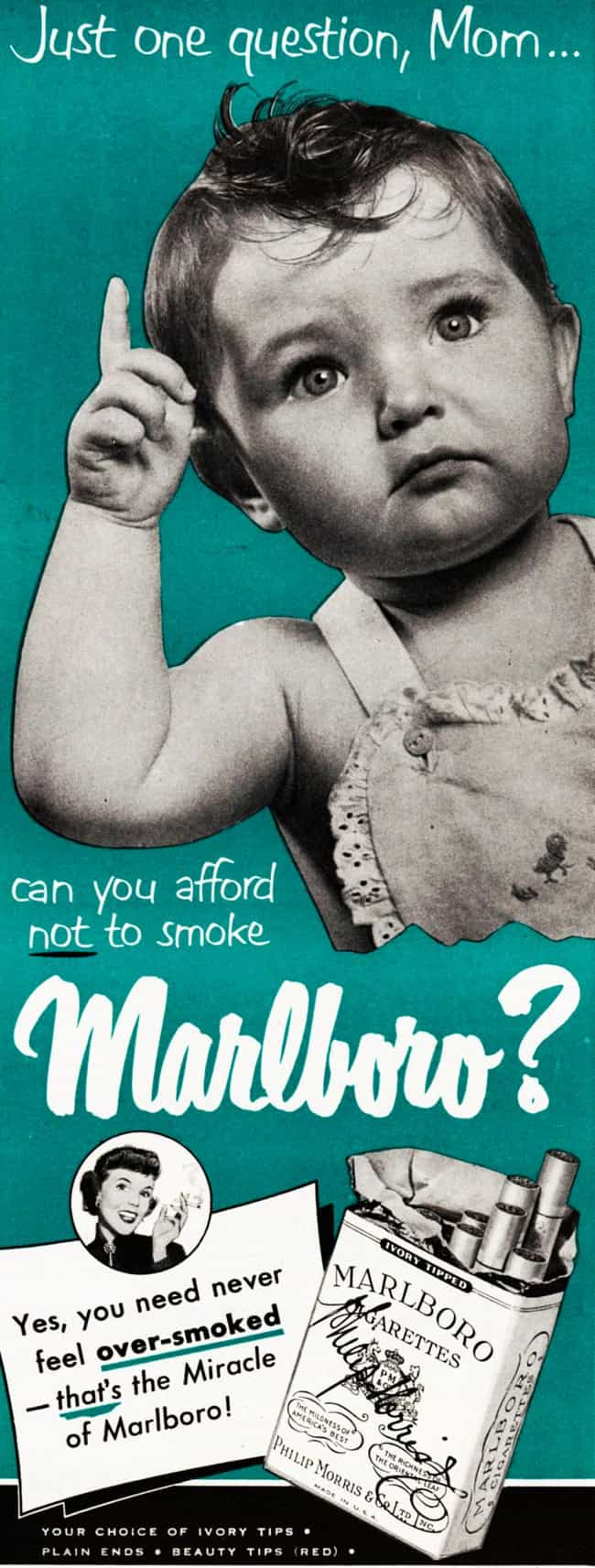 Your Baby Whole-Heartedl... is listed (or ranked) 2 on the list Vintage Smoking Ads They'd Never Get Away with These Days