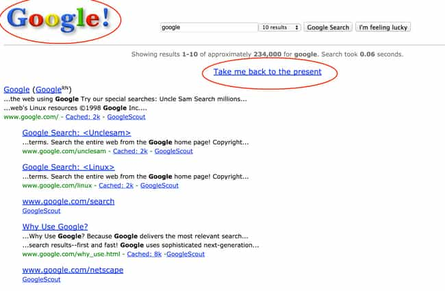 Google in 1998 is listed (or ranked) 7 on the list The Best Google Easter Eggs
