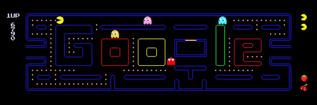 Google's Version of Pac-Man is listed (or ranked) 1 on the list The Best Google Easter Eggs