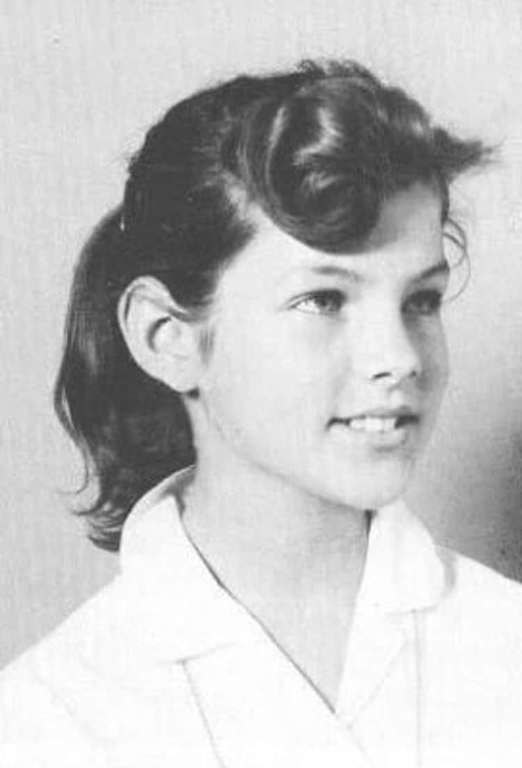 Young Priscilla Presley in a White Blouse as a Teenager