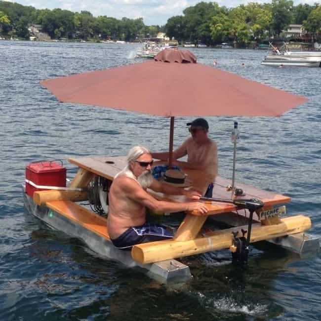 This Floating Picnic Tab... is listed (or ranked) 3 on the list The Greatest Inventions In Hillbilly Luxury