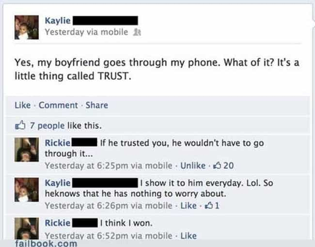 We're With Rickie On This ... is listed (or ranked) 4 on the list The Worst Facebook PDA Posts