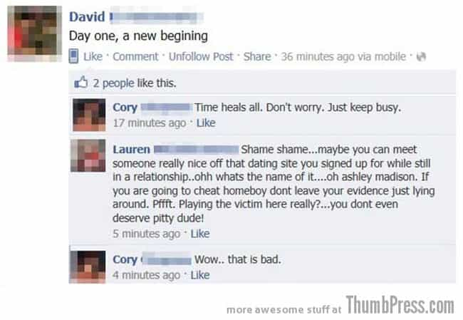 Sympathy Garnering=Fail is listed (or ranked) 2 on the list People Caught Cheating On Facebook