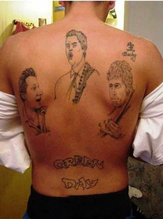 The Real American Idiot ... is listed (or ranked) 7 on the list Dudes Who Actually Got Tramp Stamp Tattoos