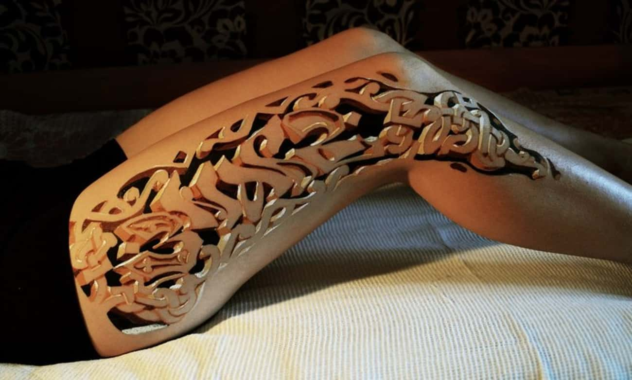 This 3D Cut-Out Leg Design is listed (or ranked) 1 on the list The Most Mindblowing 3D Tattoos of All Time