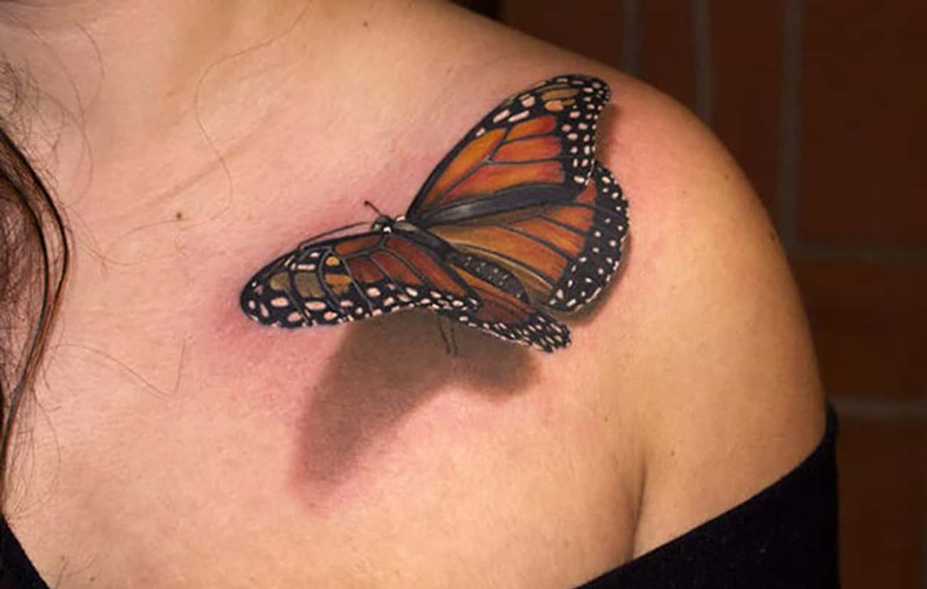 This Butterfly Looks Like It C is listed (or ranked) 2 on the list The Most Mindblowing 3D Tattoos of All Time