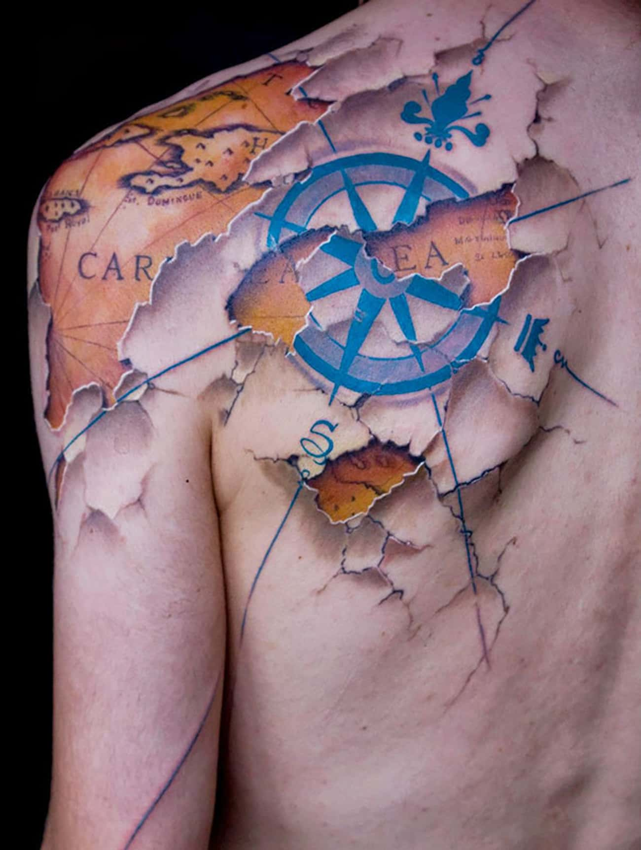 This Antique Map Was Found Und is listed (or ranked) 4 on the list The Most Mindblowing 3D Tattoos of All Time
