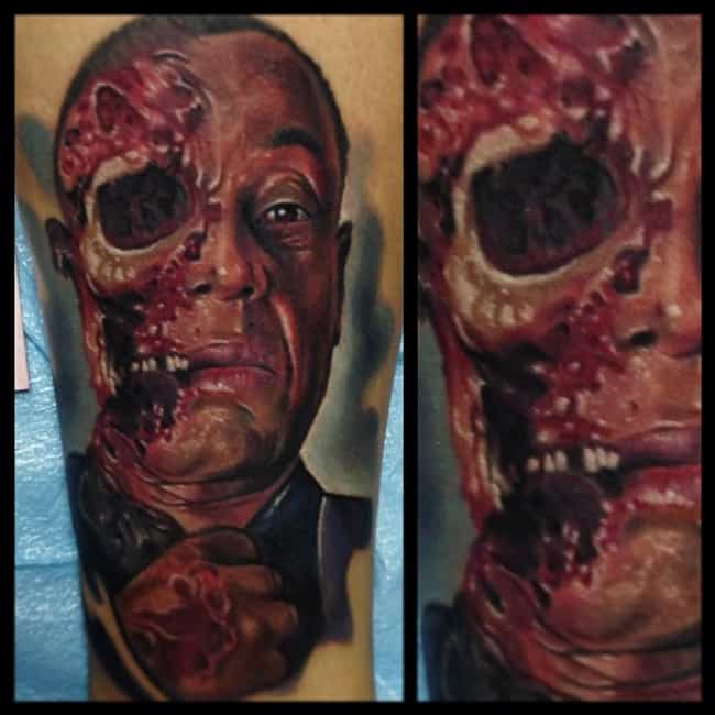 This Gruesome Recreation of Gu... is listed (or ranked) 2 on the list The Best-Ever Breaking Bad Tattoos, Ranked