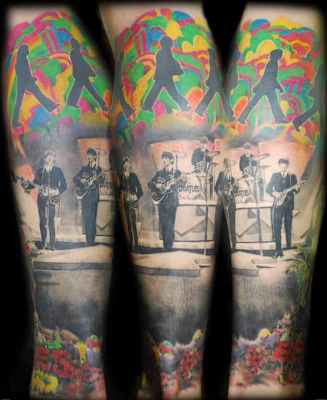 This Full-Sleeve Psychedelic B... is listed (or ranked) 2 on the list The Most Epic Boy Band Tattoos Ever