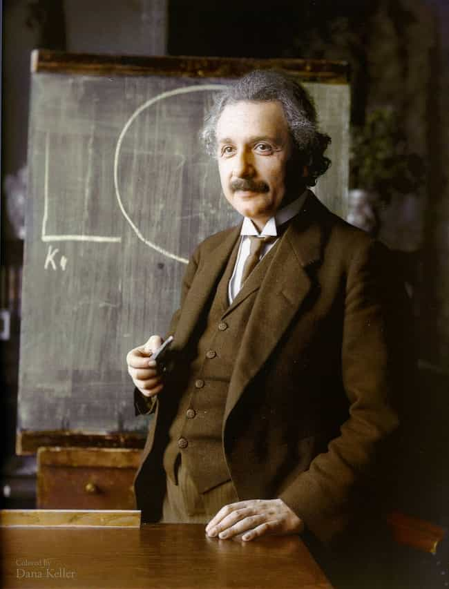 Albert Einstein in 1921 ... is listed (or ranked) 3 on the list The Most Amazing Colorized Black and White Photos